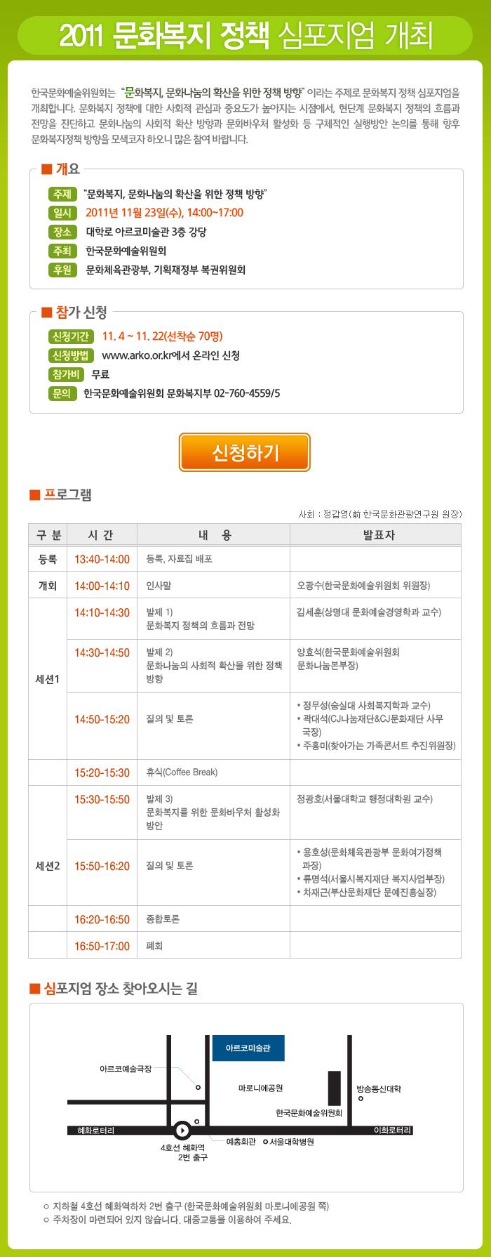 2011 문화복지 정책 심포지엄 개최