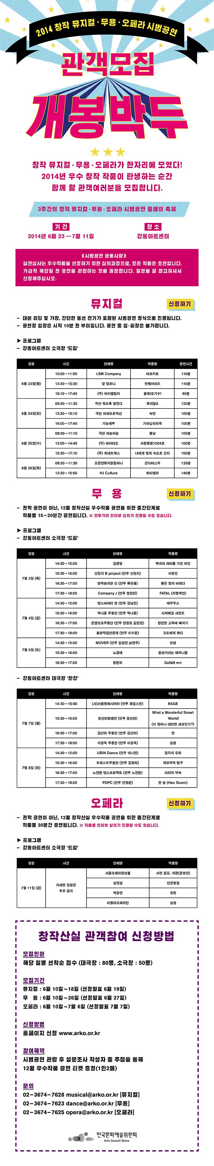 2014 창작뮤지컬·무용·오페라 시범공연