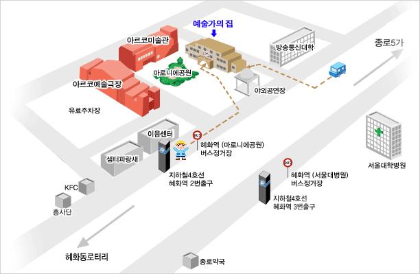 예술가의집 찾아오시는 길 : 지하철 4호선 혜화역 2번출구 (한국문화예술위원회,마로니에공원쪽)로 나옴