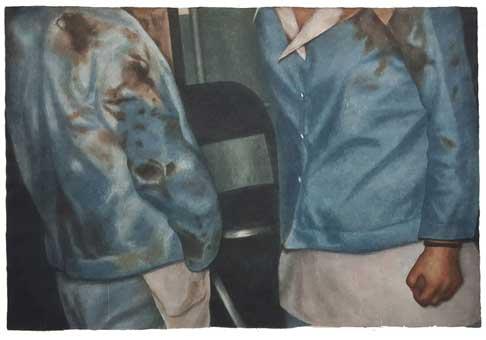 양유연, 얼룩, 장지에 아크릴릭, 198x138cm, 2017