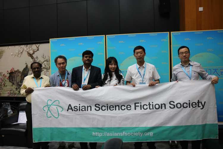 지난 5월 19일 '아시아SF협회' 발족에 참여한 한국·인도·중국 SF 관계자들/한국SF협회]