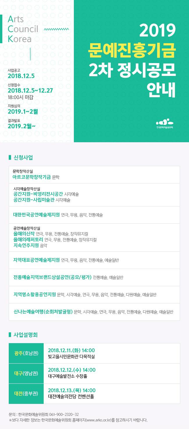 2019 문예진흥기금 2차 정시공모 안내.
