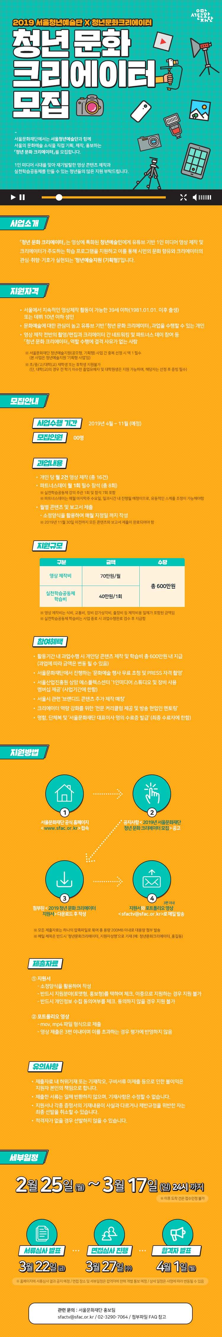 2019년 서울문화재단 <br>「청년 문화 크리에이터」